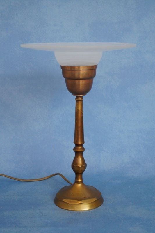 Sehr elegante original französische Art Déco Tischleuchte Lampe Leuchte Messing 2