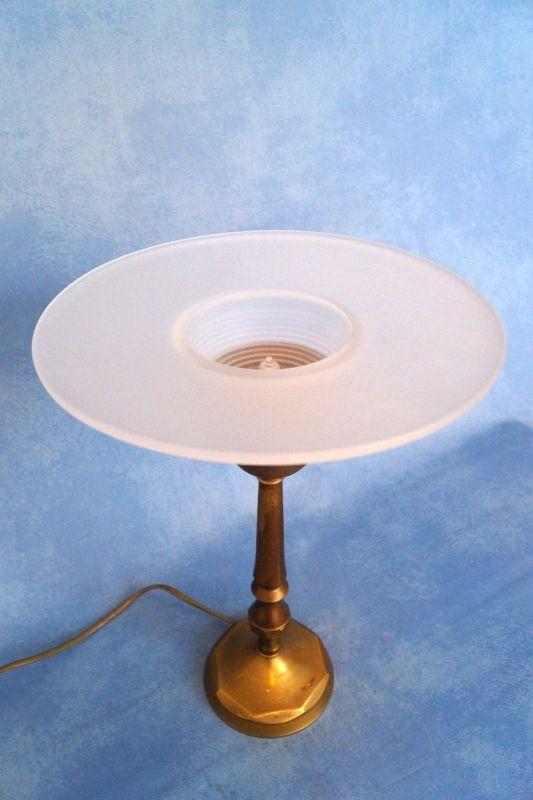 Sehr elegante original französische Art Déco Tischleuchte Lampe Leuchte Messing 4