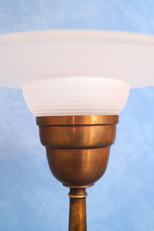 Sehr elegante original französische Art Déco Tischleuchte Lampe Leuchte Messing 5
