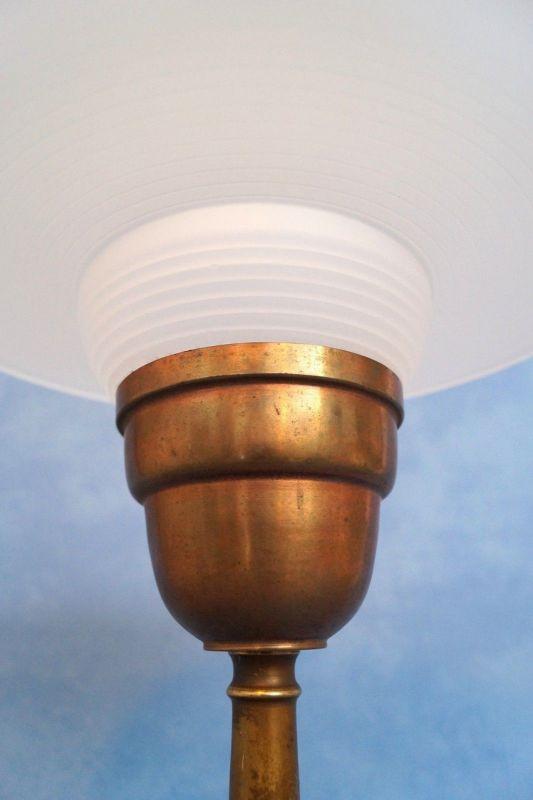 Sehr elegante original französische Art Déco Tischleuchte Lampe Leuchte Messing 6