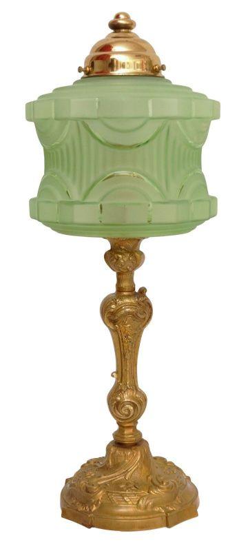 Wunderschöne original Jugendstil Tischlampe Messinglampe Berlin Unikat 1920