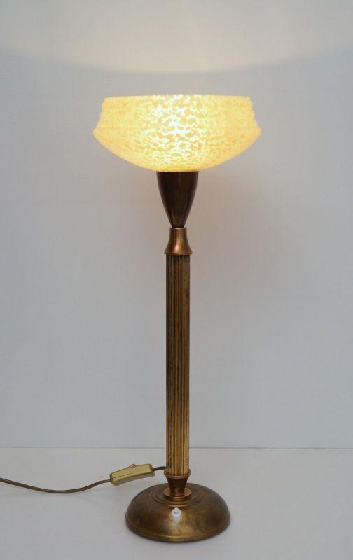 Original Art Déco Tischleuchte Tischlampe Mazda Messinglampe 1940er 1