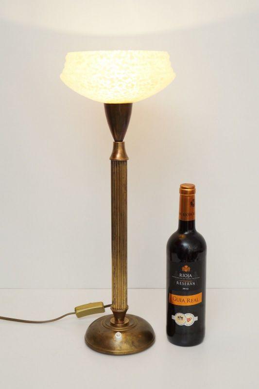 Original Art Déco Tischleuchte Tischlampe Mazda Messinglampe 1940er 5