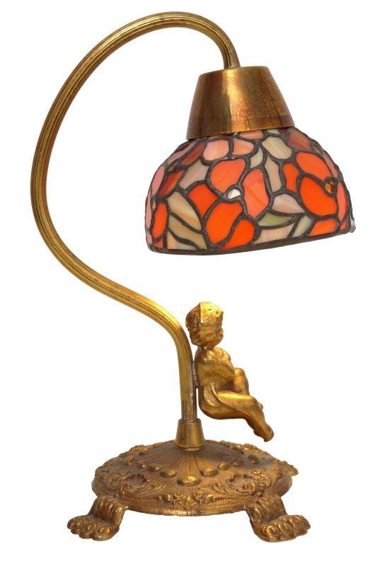Unikat wunderschöne Jugendstil Shabby Chic Engellampe Putto Engel Tischlampe 0