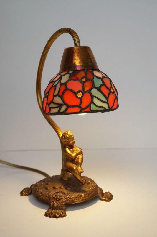Unikat wunderschöne Jugendstil Shabby Chic Engellampe Putto Engel Tischlampe 1