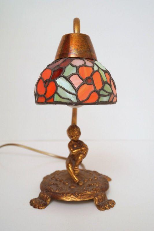 Unikat wunderschöne Jugendstil Shabby Chic Engellampe Putto Engel Tischlampe 3