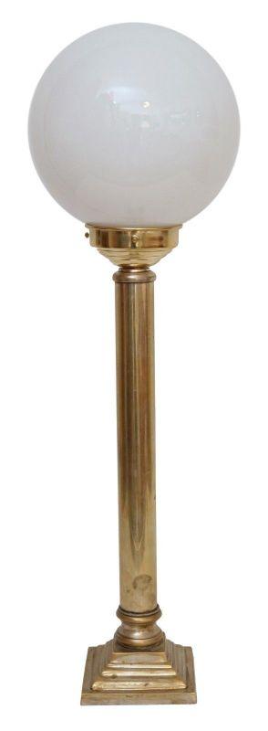 Unikate Art Déco Tischlampe Messinglampe Schreibtischleuchte Opalglas