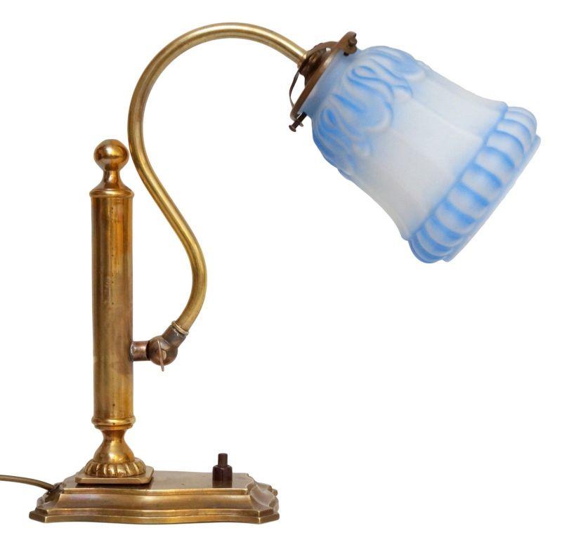 Orig. Jugendstil Messinglampe Einzelstück Schreibtischleuchte Bibliothek Kontor
