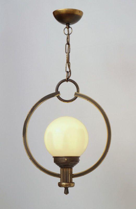 Original Art Déco Deckenlampe Hängelampe Sputnik Messinglampe 1930er 1