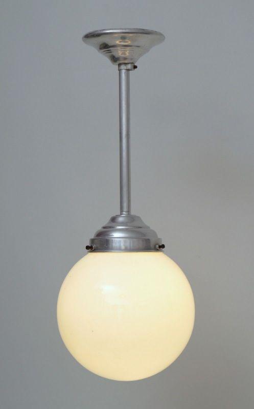 Franz. original Art Déco Deckenlampe Kugelleuchte Aluminium 1930er Hängelampe 1
