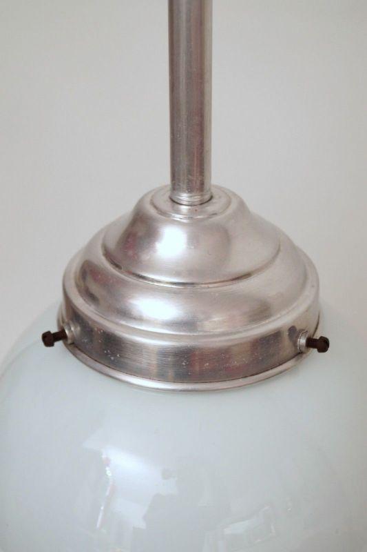Franz. original Art Déco Deckenlampe Kugelleuchte Aluminium 1930er Hängelampe 2