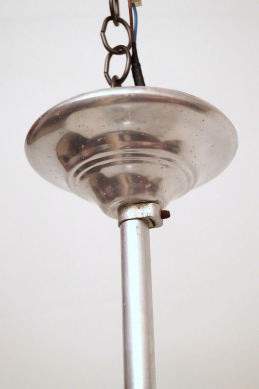 Franz. original Art Déco Deckenlampe Kugelleuchte Aluminium 1930er Hängelampe 3