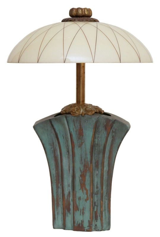 Einzelstück Jugendstil Landhaus Tischleuchte Messinglampen Lampe Unikat