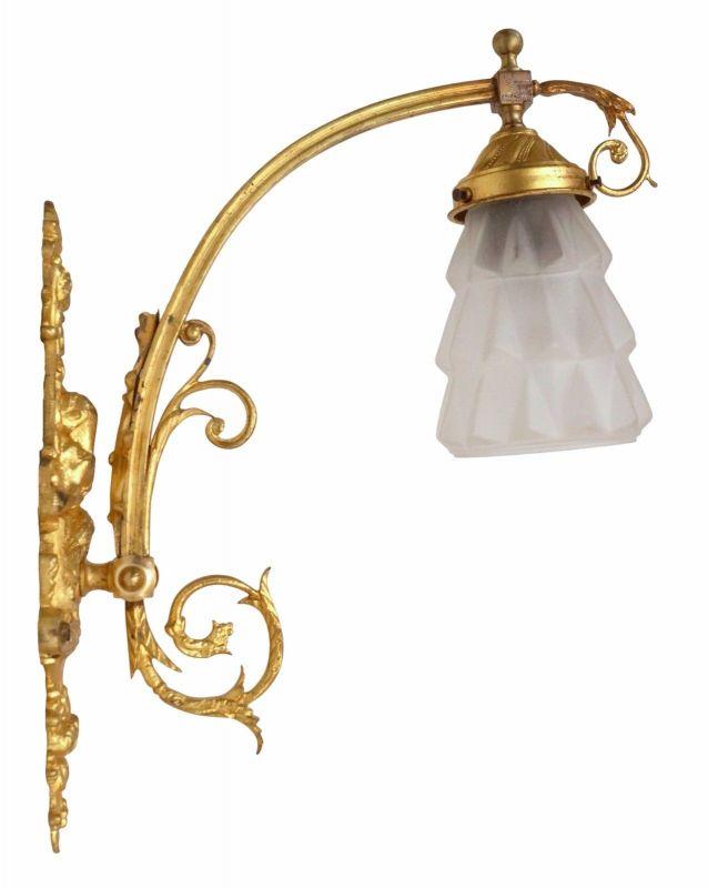 Jugendstil Wandlampe Feuervergoldet um 1900 original 1