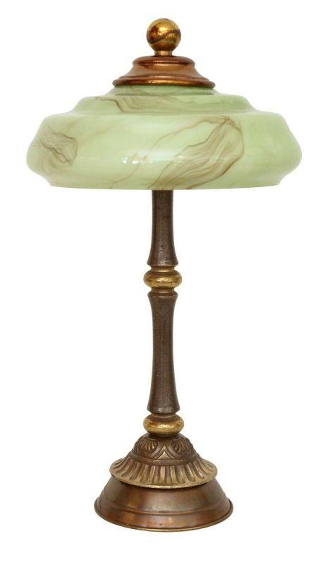 Unikat wunderschöne zierliche original Jugendstil Tischleuchte 1920 Messinglampe