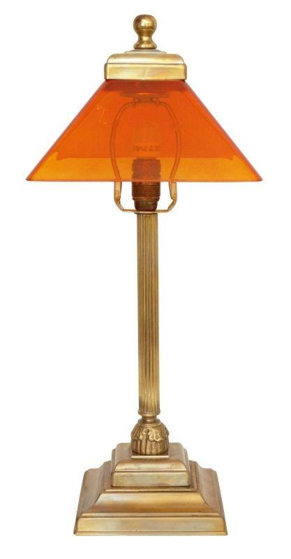 Unikate Art Déco Tischleuchte Messinglampe Schreibtischleuchte orange