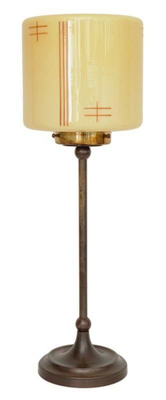 Unikate Art Déco Tischleuchte Messinglampe Schreibtischleuchte antikes Opalglas