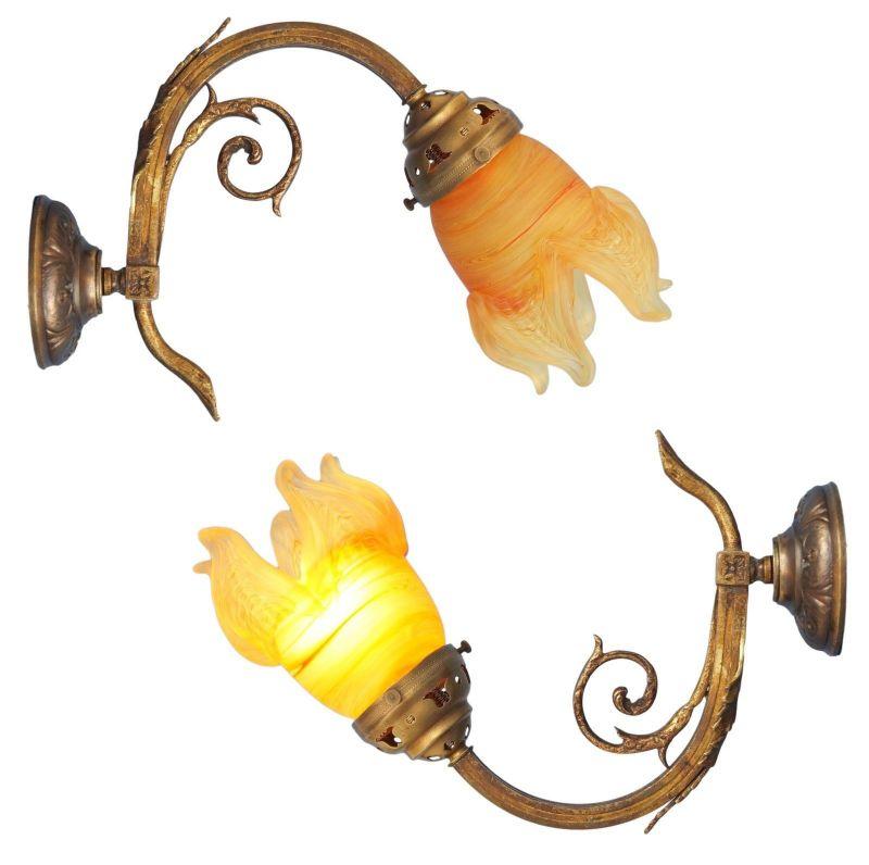 Einzelstück wunderschöne romantische original Jugendstil Messing Wandlampe 1920