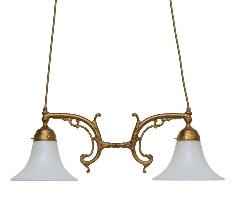Landhaus Berliner Deckenlampe Hängeleuchte Messing Lampe Messinglampe Opalglas