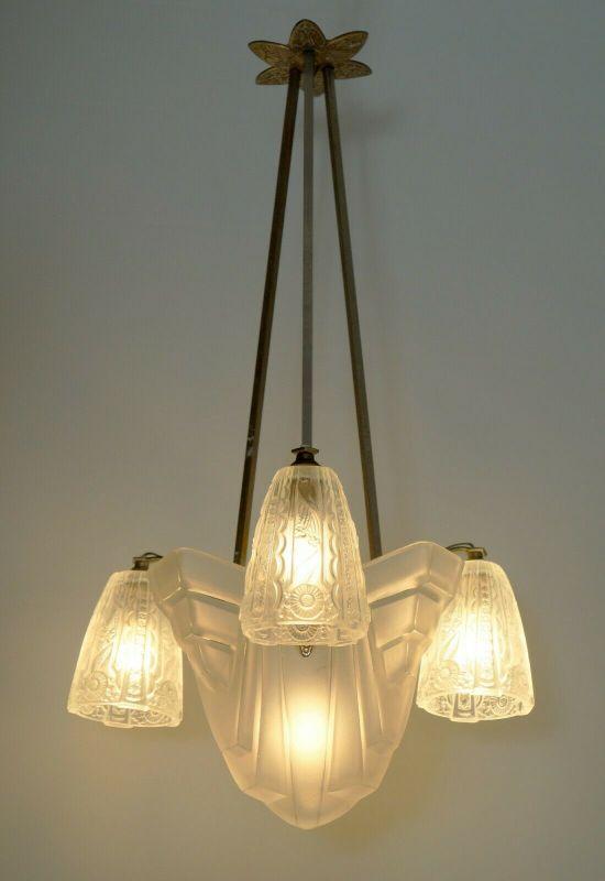 Toller original französischer Art Déco Degué Deckenleuchter Deckenlampe 1920