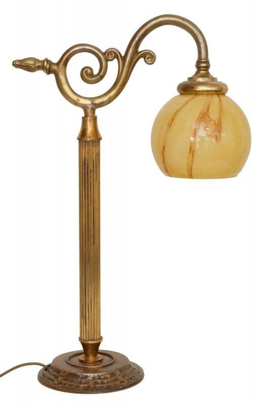 Unikate Sammlerstück Jugendstil Berliner Messinglampe Kontorleuchte Tischlampe