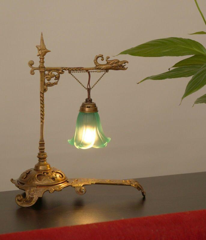 Unikates Sammlerstück zierliche Jugendstil Laterne Tischlampe Messinglampe