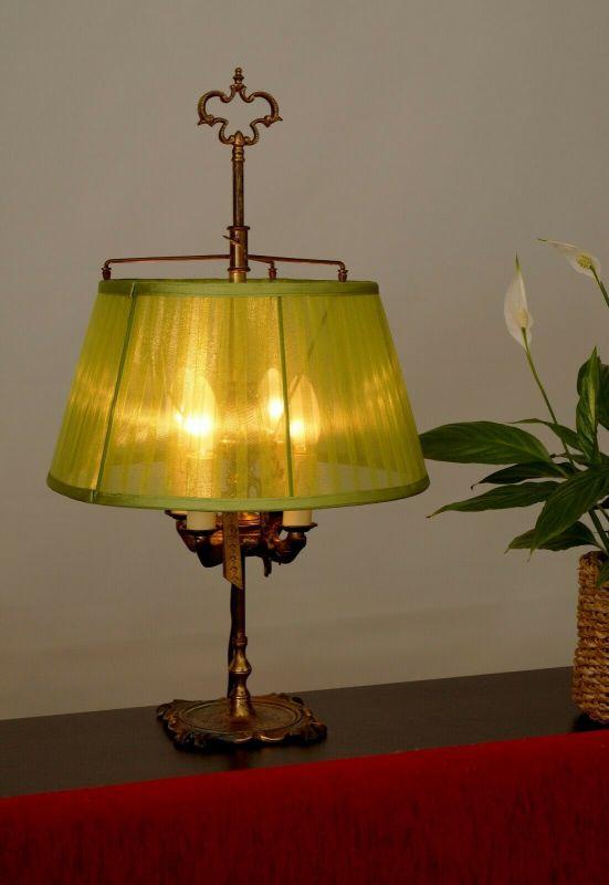 Prachtvolle original Bouilotte Tischlampe Schreibtischleuchte 1890 Messinglampe
