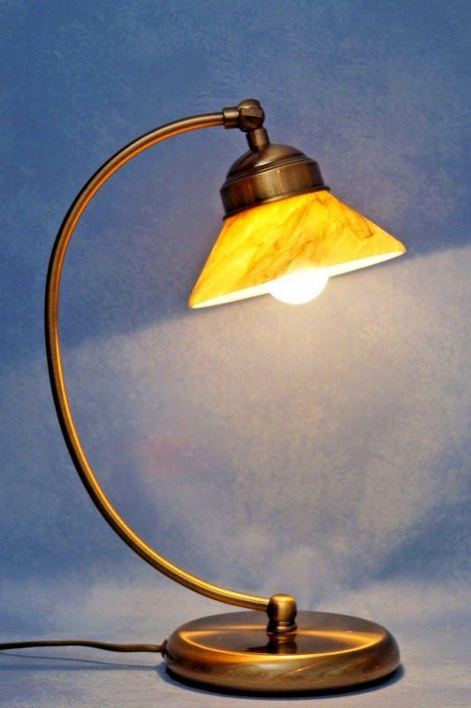 Elegante Jugendstil Schreibtischlampe Bankerlampe Berlin Tischleuchte Messing