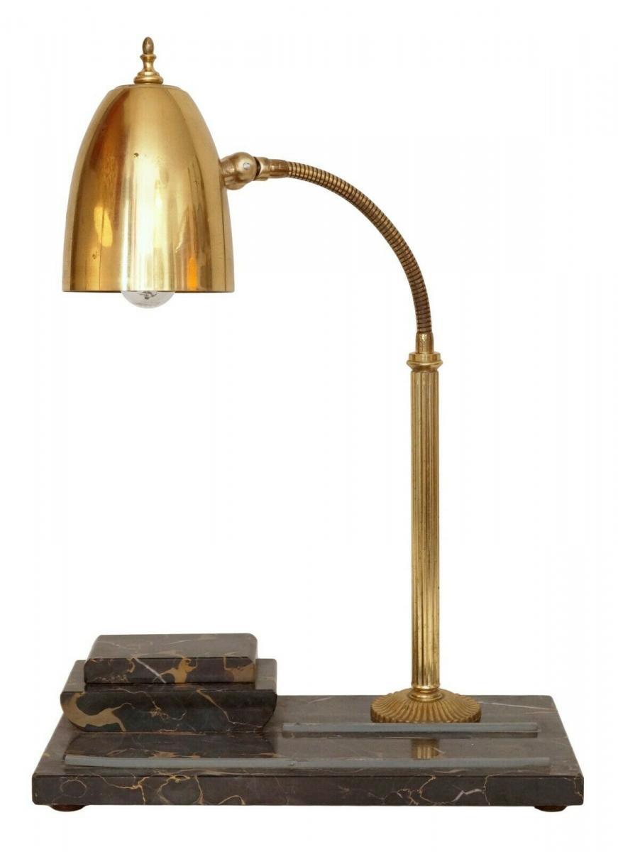 Prächtige original Art Déco Schreibtischlampe Marmor 1940