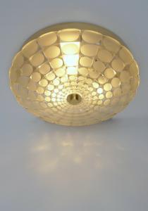 1960er KALMAR Gold Color Art Déco Glas Deckenlampe Vintage Plafoniere Wandlampe