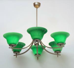 Sehr eleganter Art Dèco Bauhaus Deckenleuchter 1970er vernickelt Hängelampe