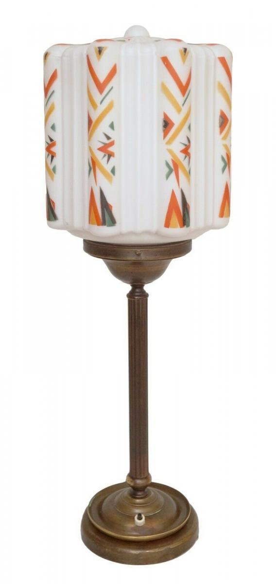 Große prachtvolle original Art Déco Schreibtischlampe Tischlampe Messing Bauhaus 0