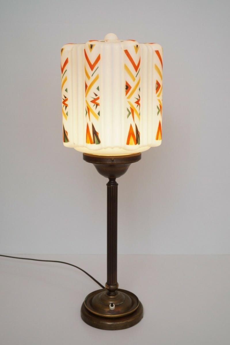 Große prachtvolle original Art Déco Schreibtischlampe Tischlampe Messing Bauhaus 2
