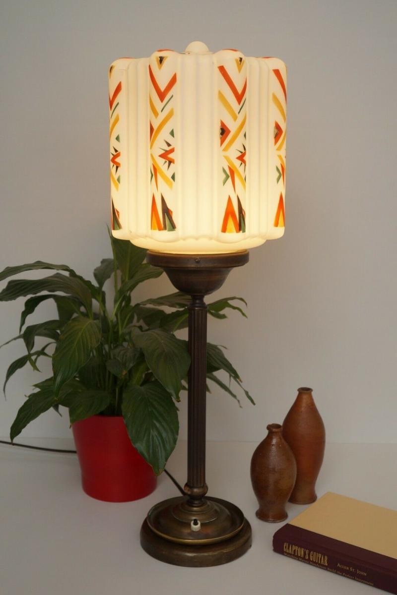 Große prachtvolle original Art Déco Schreibtischlampe Tischlampe Messing Bauhaus 3