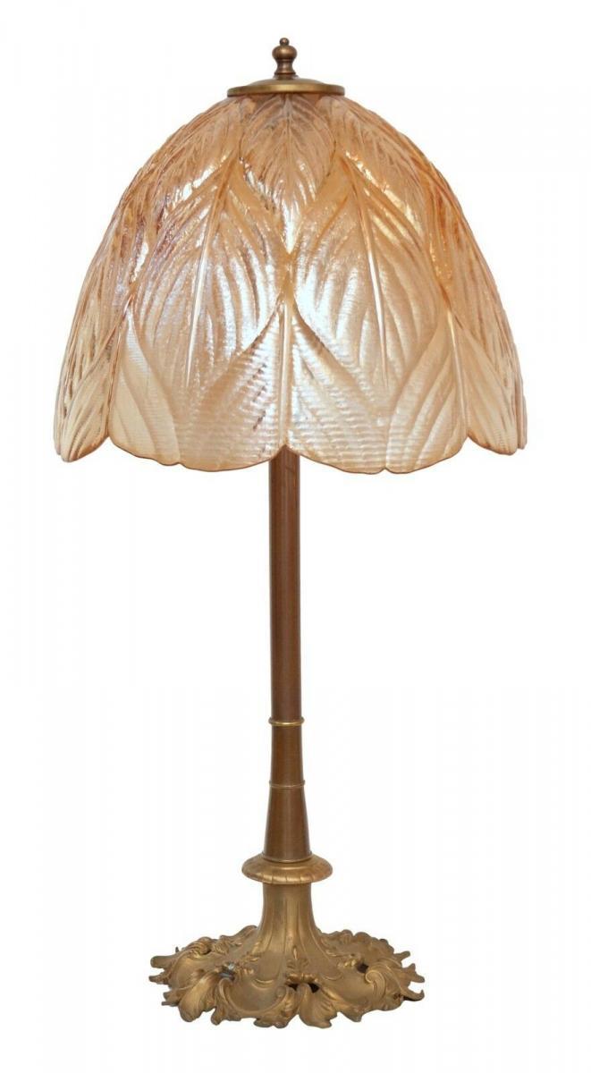 Prachtvolle original Jugendstil Schreibtischlampe Salon Tischlampe 73 cm 1920 0