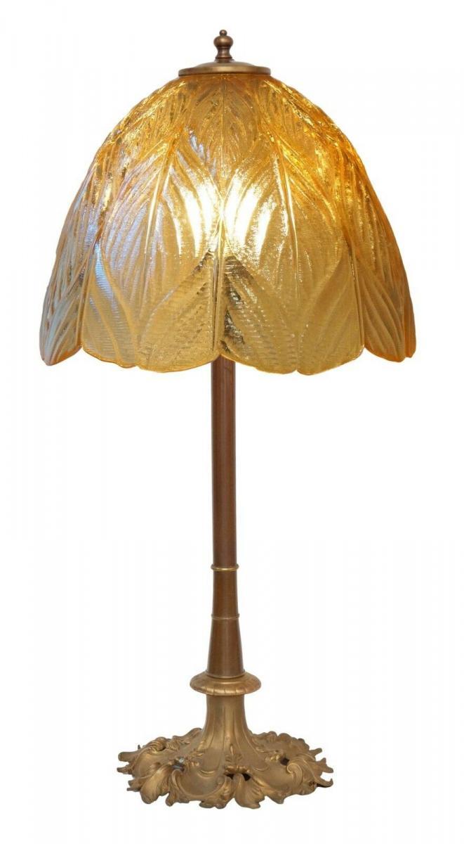 Prachtvolle original Jugendstil Schreibtischlampe Salon Tischlampe 73 cm 1920 1