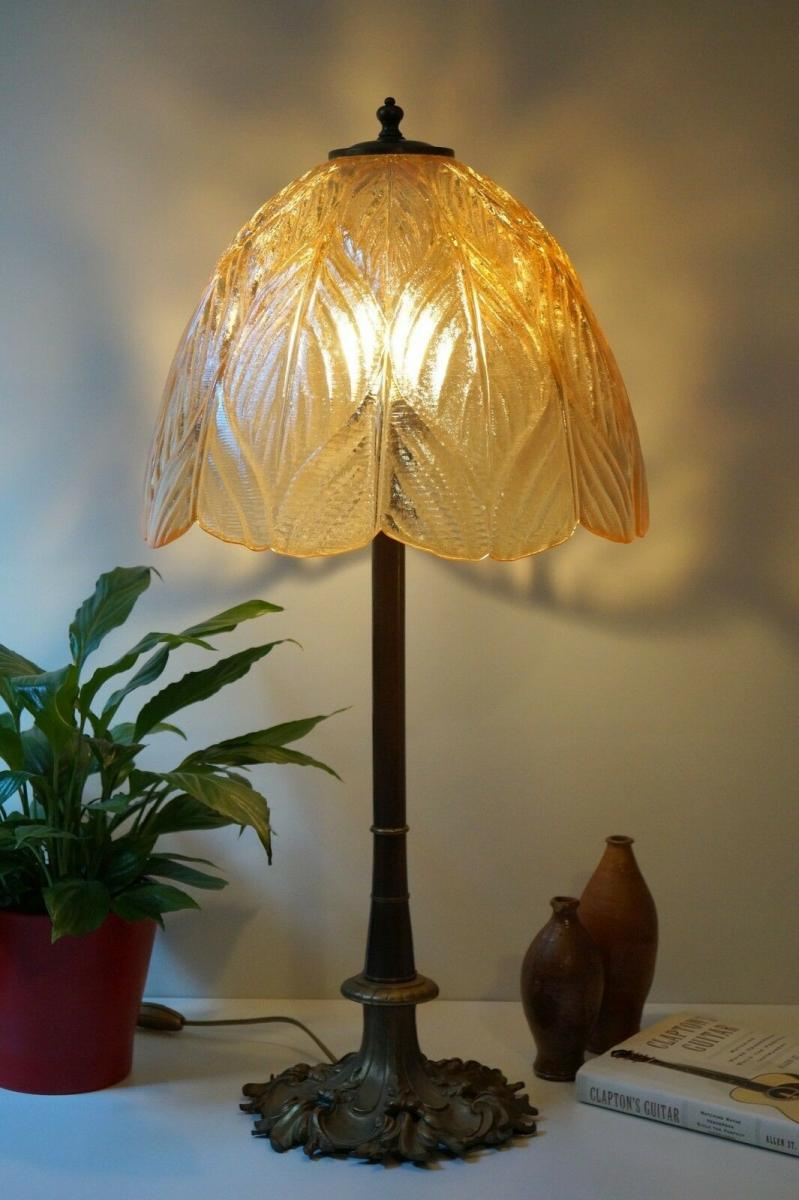 Prachtvolle original Jugendstil Schreibtischlampe Salon Tischlampe 73 cm 1920 2