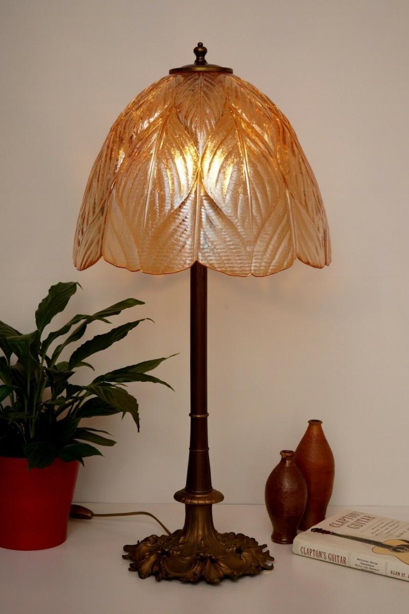 Prachtvolle original Jugendstil Schreibtischlampe Salon Tischlampe 73 cm 1920 3