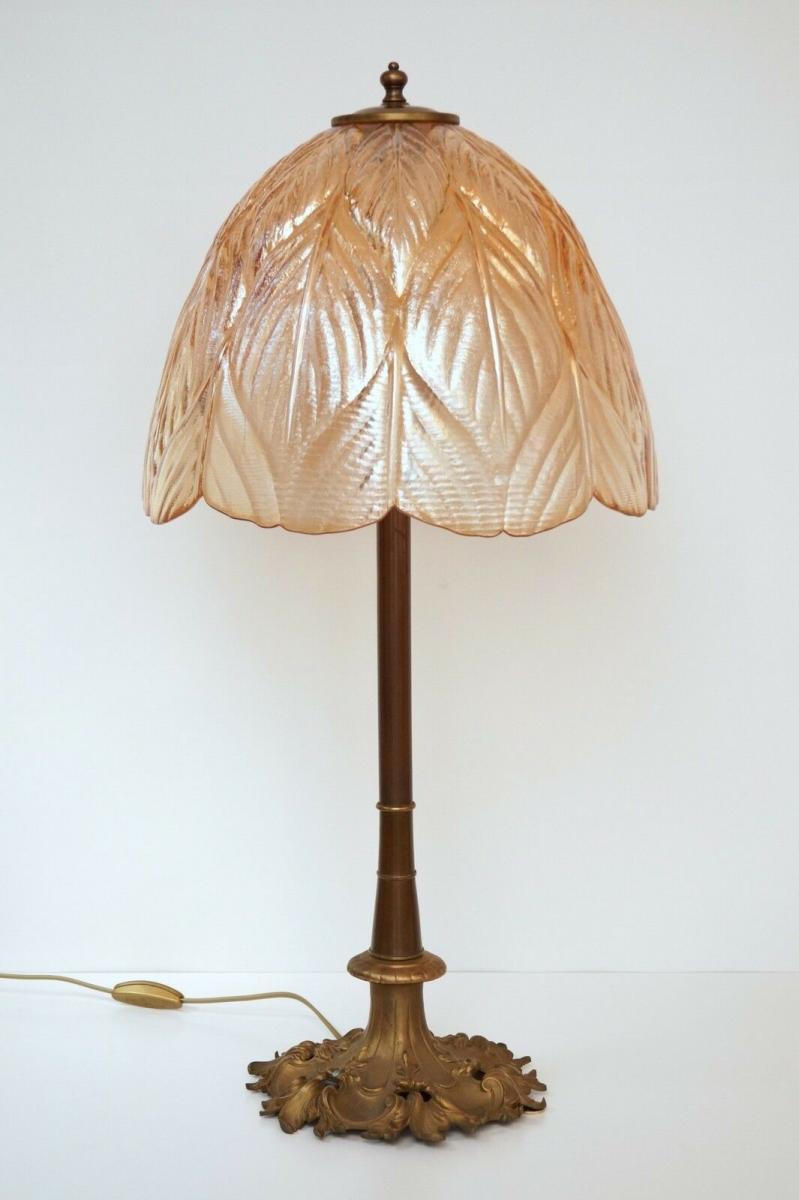 Prachtvolle original Jugendstil Schreibtischlampe Salon Tischlampe 73 cm 1920 4