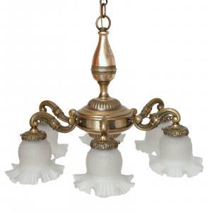 Prachtvolle original Jugendstil Deckenlampe Hängeleuchte Lüster Messing 1910