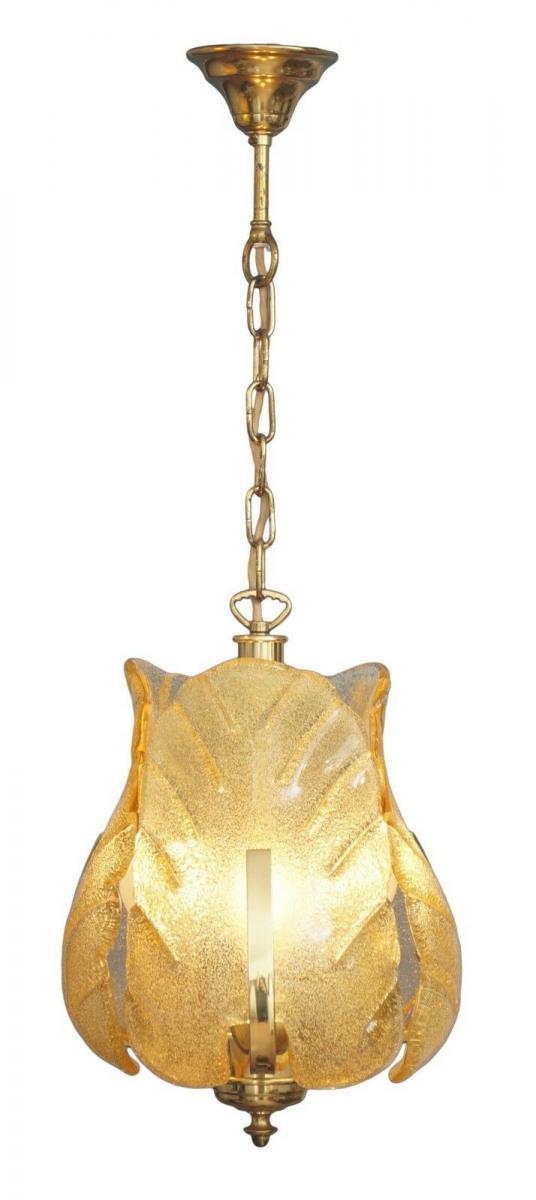 70er Jahre Flurlampe Deckenleuchte Hängelampe Honigfarben Laterne Messing 0