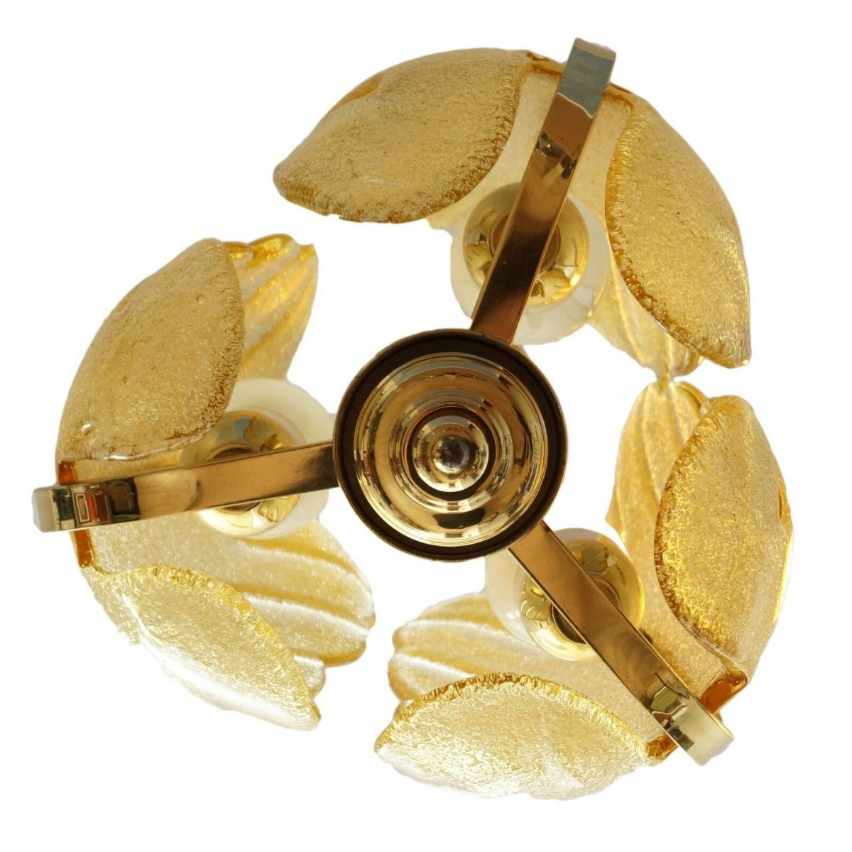 70er Jahre Flurlampe Deckenleuchte Hängelampe Honigfarben Laterne Messing 1