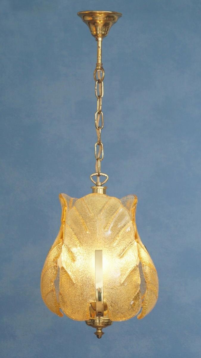 70er Jahre Flurlampe Deckenleuchte Hängelampe Honigfarben Laterne Messing 2