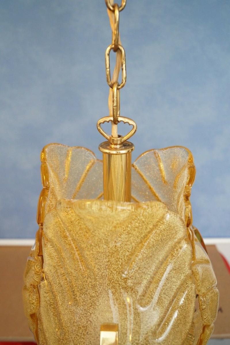 70er Jahre Flurlampe Deckenleuchte Hängelampe Honigfarben Laterne Messing 4