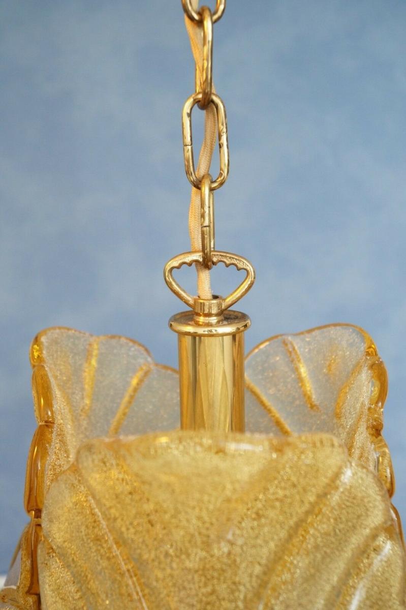 70er Jahre Flurlampe Deckenleuchte Hängelampe Honigfarben Laterne Messing 5