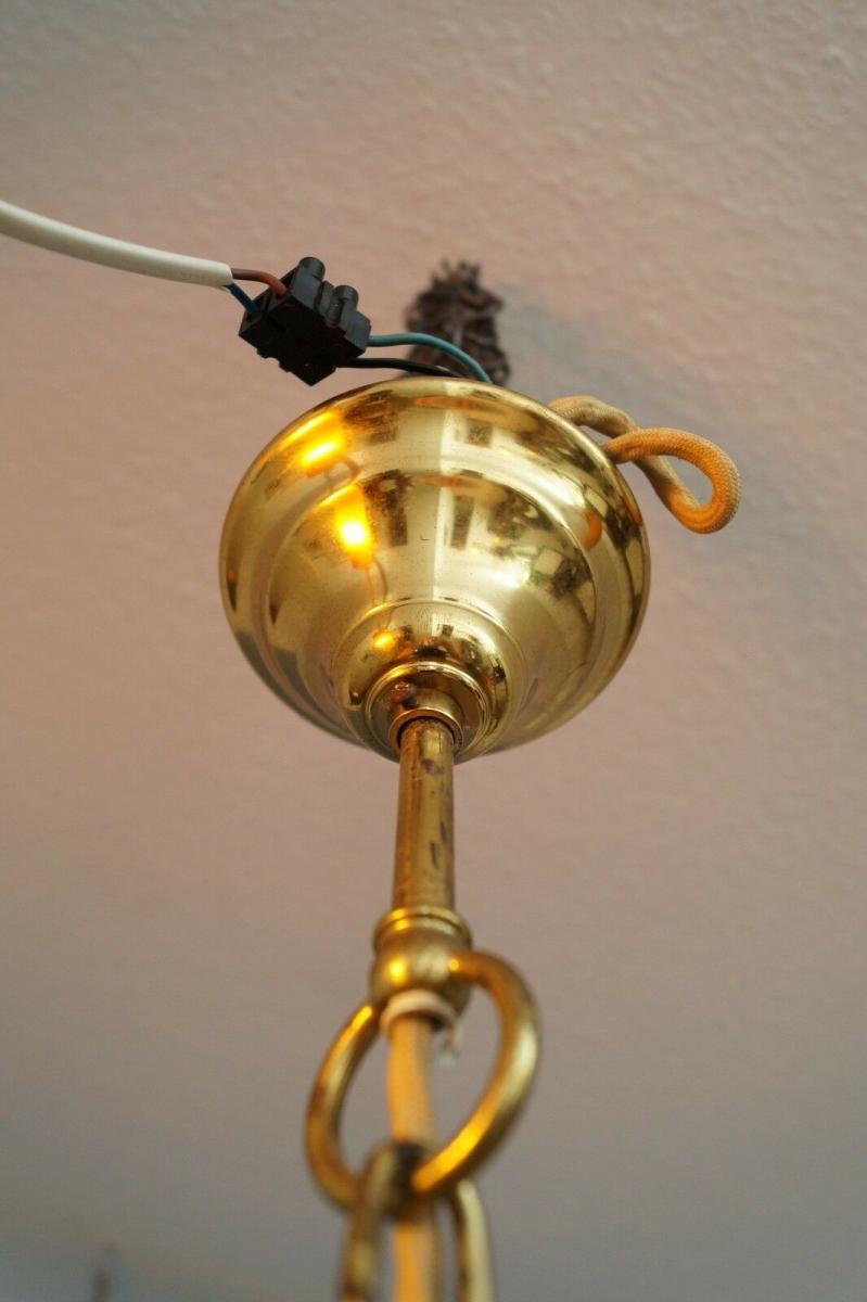 70er Jahre Flurlampe Deckenleuchte Hängelampe Honigfarben Laterne Messing 8