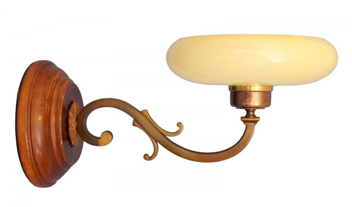 Tolle Jugendstil Wandlampe Messing Holz antiker original Opalglas-Schirm 0
