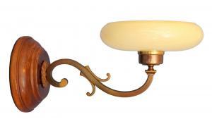 Tolle Jugendstil Wandlampe Messing Holz antiker original Opalglas-Schirm