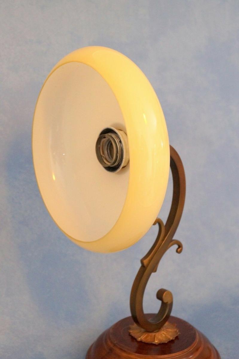 Tolle Jugendstil Wandlampe Messing Holz antiker original Opalglas-Schirm 3