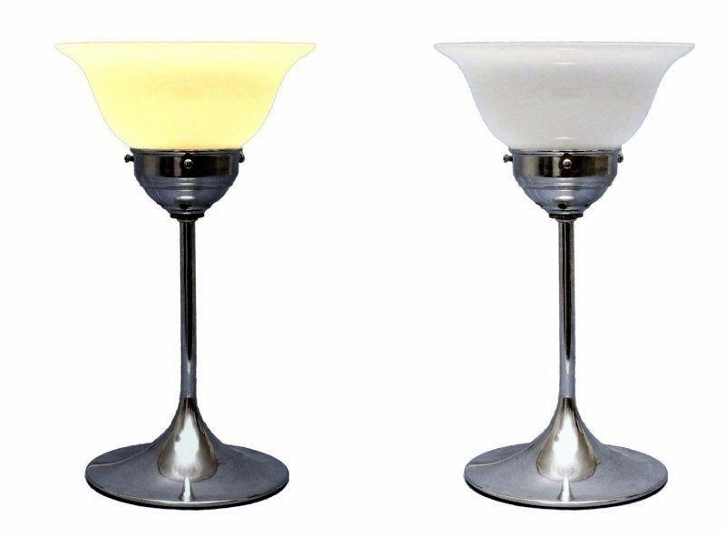 2 Stück zierliche original 70er Retro Design Nachttischlampen Chrom Bauhaus 0